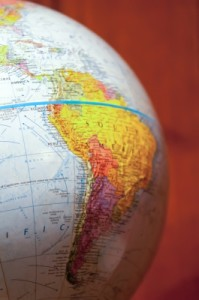 Part Of A Globe With Map Of South America by digidreamgrafix